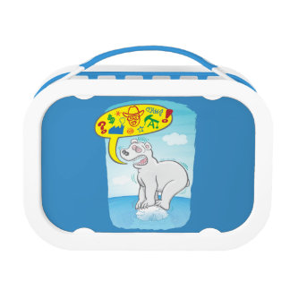 Polar bear saying bad words standing on tiny ice lunch box