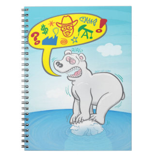 Polar bear saying bad words standing on tiny ice notebook