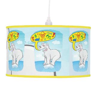 Polar bear saying bad words standing on tiny ice pendant lamp