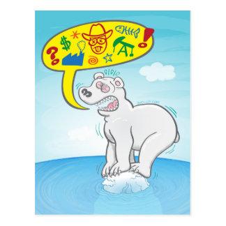 Polar bear saying bad words standing on tiny ice postcard