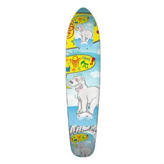 Polar bear saying bad words standing on tiny ice skate board decks