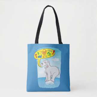 Polar bear saying bad words standing on tiny ice tote bag