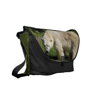 polar bear scowling messenger bag