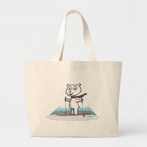 Polar Bear Skiing Canvas Bag