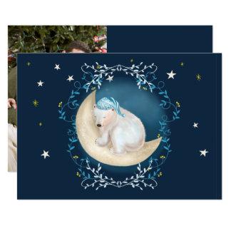 Polar Bear Sleeping on Moon Photo Christmas Card