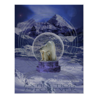 Polar Bear Snow Globe copy Poster