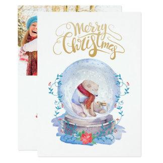 Polar Bear Snow Globe Photo Christmas Card