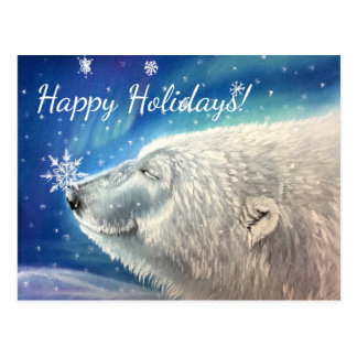 Polar Bear Snowflakes Postcard