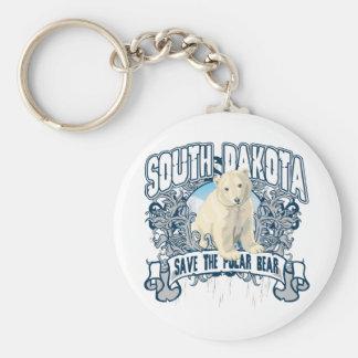 Polar Bear South Dakota Basic Round Button Keychain