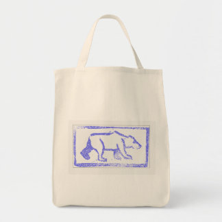 Polar Bear Stamp Grocery Tote Bag