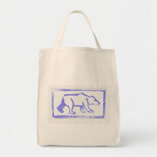 Polar Bear Stamp Grocery Tote Bag
