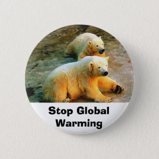 Polar Bear Stop Global Warming Button Pin