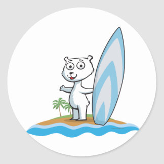 Polar Bear Surfer Classic Round Sticker