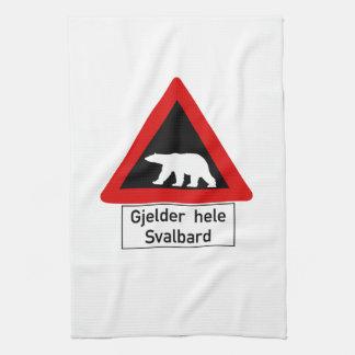 Polar Bear, Traffic Sign, Norway Kitchen Towel