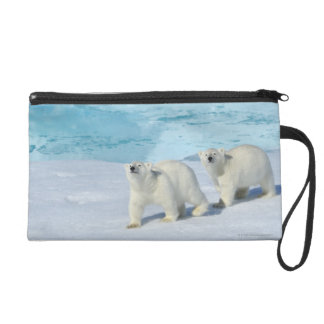 Polar bear, two cups on pack ice, Ursus Wristlet Purses
