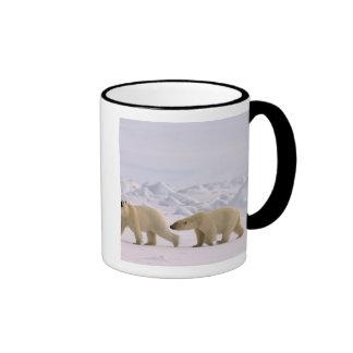 polar bear, Ursus maritimus, pair in rough ice Ringer Coffee Mug