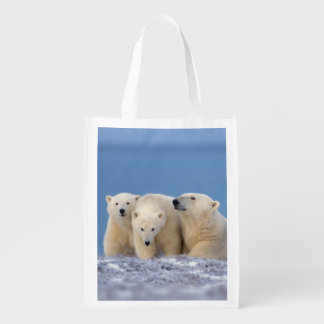 polar bear, Ursus maritimus, sow with cubs Grocery Bags