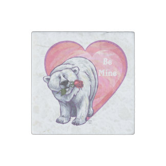 Polar Bear Valentine's Day Stone Magnets