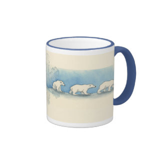 Polar Bear Walk Ringer Coffee Mug