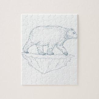 Polar Bear Walking Iceberg Ukiyo-e Jigsaw Puzzle
