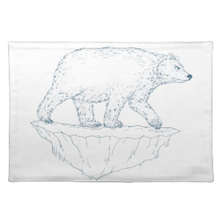 Polar Bear Walking Iceberg Ukiyo-e Placemat