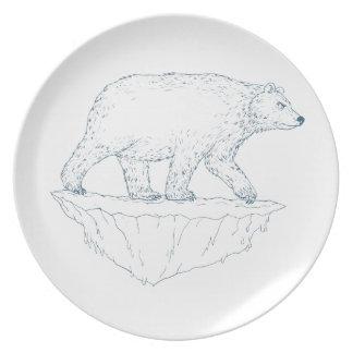 Polar Bear Walking Iceberg Ukiyo-e Plate
