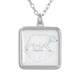 Polar Bear Walking Iceberg Ukiyo-e Silver Plated Necklace