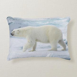Polar bear walking, Norway Accent Pillow