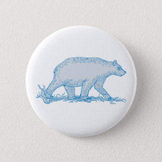 Polar Bear Walking Side Drawing 2 Inch Round Button