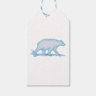 Polar Bear Walking Side Drawing Gift Tags