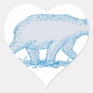 Polar Bear Walking Side Drawing Heart Sticker