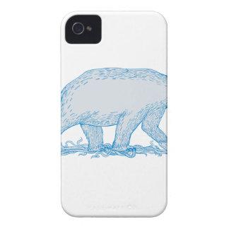 Polar Bear Walking Side Drawing iPhone 4 Cover