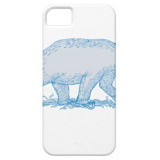 Polar Bear Walking Side Drawing iPhone 5 Case
