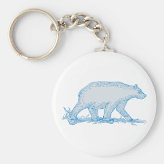 Polar Bear Walking Side Drawing Keychain