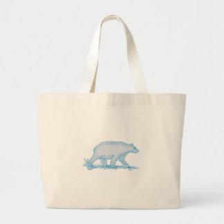 Polar Bear Walking Side Drawing Large Tote Bag