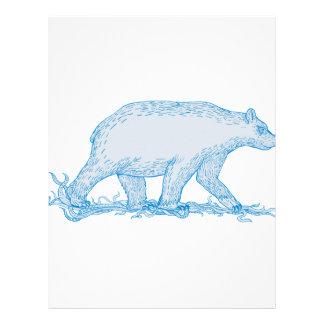 Polar Bear Walking Side Drawing Letterhead