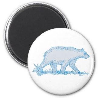 Polar Bear Walking Side Drawing Magnet