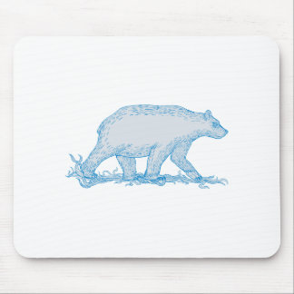 Polar Bear Walking Side Drawing Mouse Pad