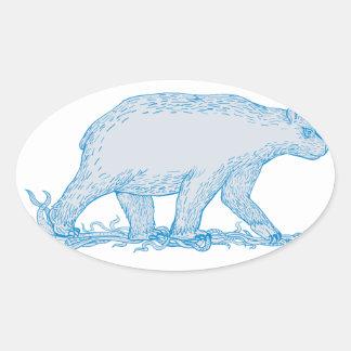 Polar Bear Walking Side Drawing Oval Sticker