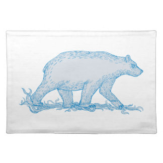 Polar Bear Walking Side Drawing Placemat