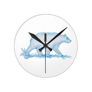 Polar Bear Walking Side Drawing Round Clock