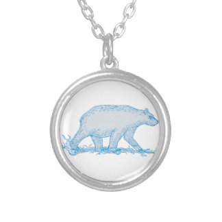 Polar Bear Walking Side Drawing Silver Plated Necklace