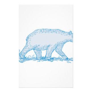 Polar Bear Walking Side Drawing Stationery