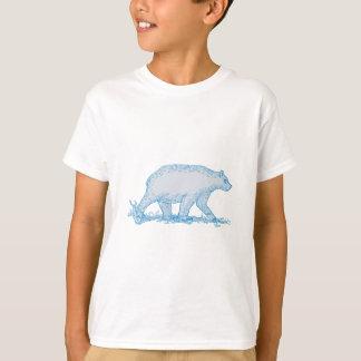 Polar Bear Walking Side Drawing T-Shirt