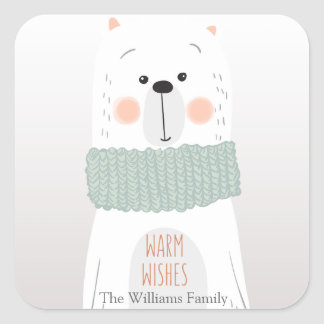 Polar bear - Warm wishes - Christmas stickers