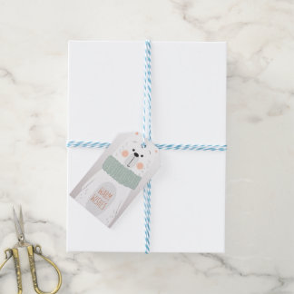 Polar bear - Warm Wishes - Cute Christmas gift tag