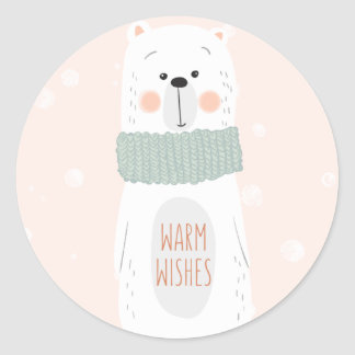 Polar bear | Warm Wishes | Cute Christmas Sticker