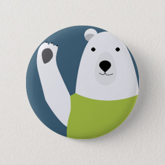 Polar Bear Waving 2 Inch Round Button