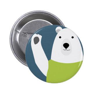 Polar Bear Waving 2 Inch Round Button