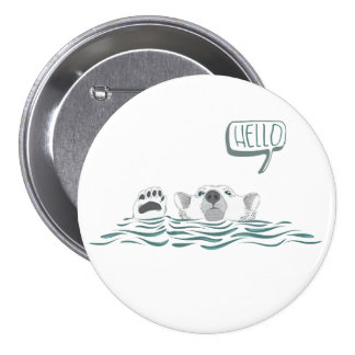 Polar Bear waving and saying Hello 3 Inch Round Button